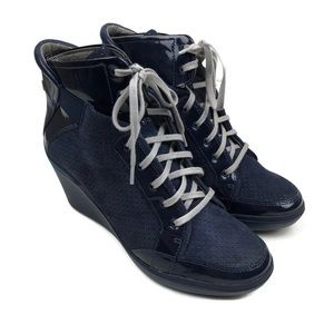 TSUBO DESS SUEDE PATENT LEATHER WEDGE SNEAKERS